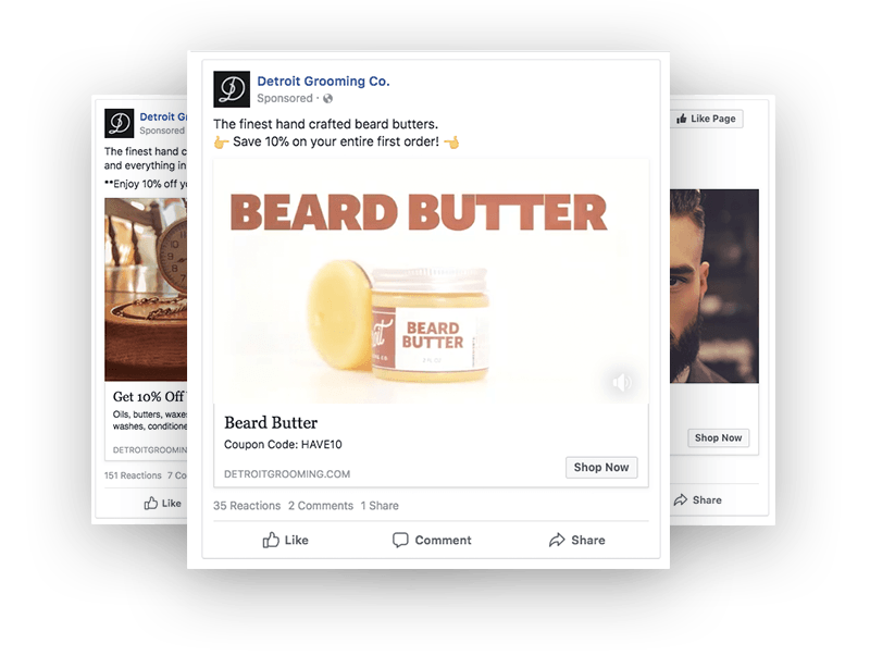 Donco Marketing work example of Detroit Grooming Co. Facebook advertising strategy and creative.