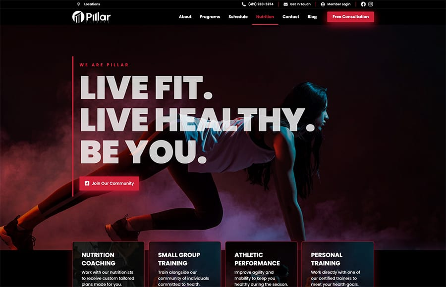 Pillar fitness website thumbnail